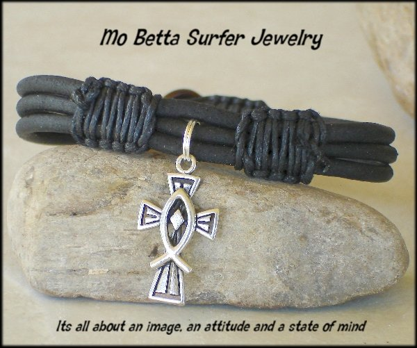 Triple Layer Distressed Black Leather with Pewter Cross and Ichthus Bracelet or Anklet