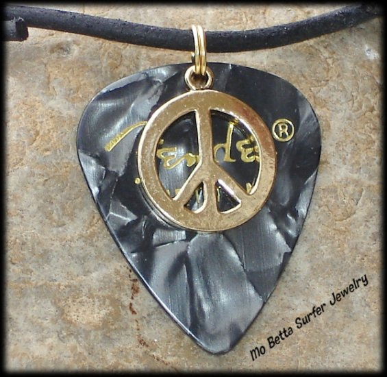 Fender Black Moto Guitar Pick and Peace Sign on Leather Surfer Style Adjustable Necklace