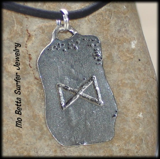 Distressed Leather Surfer Necklace with Pewter Runes Prosperity