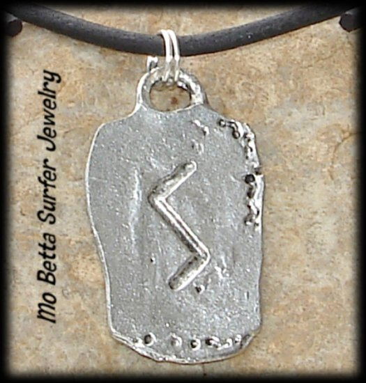 Distressed Leather Surfer Necklace with Pewter Runes Self Confidence