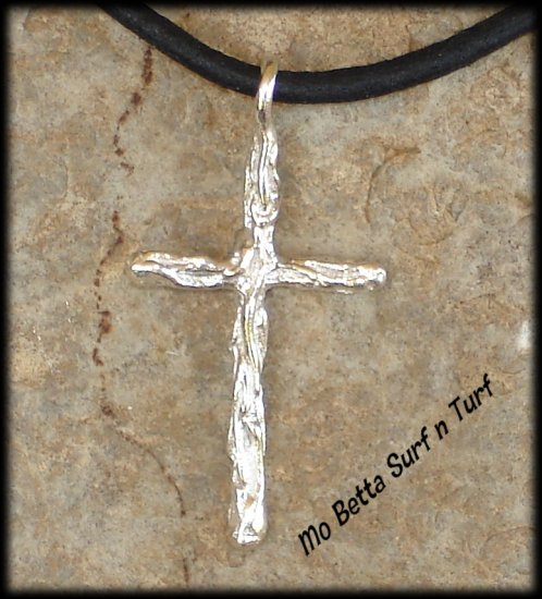 Sterling Silver Christian Cross on Black Leather Adjustable Surfer Necklace