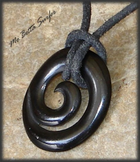 Maori Koru Carved Horn Pendant Leather Surfer Necklace