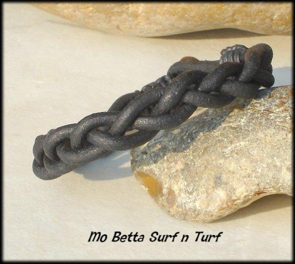 Braided Distressed 3 mm Black Leather Bracelet or Anklet