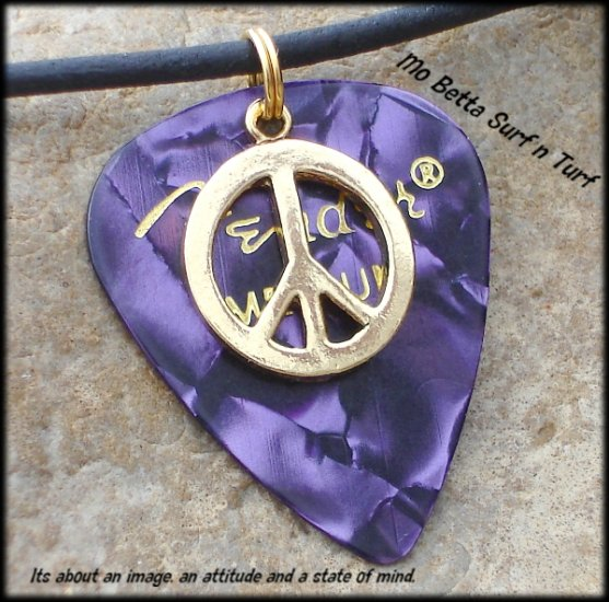 Fender Purple Moto Guitar Pick and Peace Sign on Leather Surfer Style Adjustable Necklace