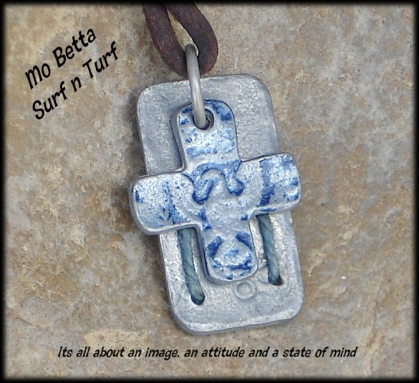 Leather Surfer Necklace with Pewter Cross with Eagle and Tag