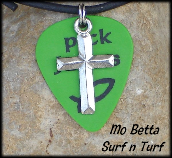 Green Pick Jesus Guitar Pick and Pewter Cross on Leather Surfer Necklace