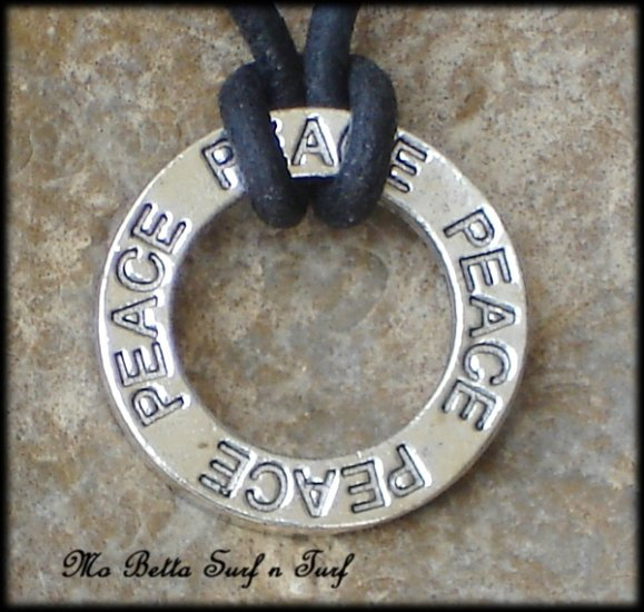 Peace Affirmation Pendant on Black Leather Adjustable Surfer Necklace