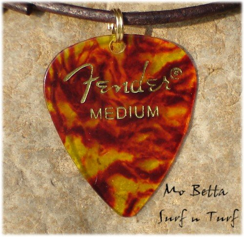 Fender Tortoise Shell Guitar Pick Leather Surfer Style Adjustable Necklace