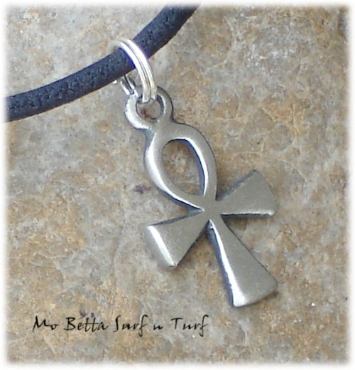 Pewter Ankh on Black Leather Adjustable Surfer Necklace