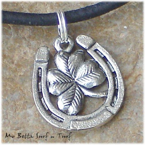 Horse Shoe and Four Leaf Clover on Black Leather Adjustable Surfer Necklace