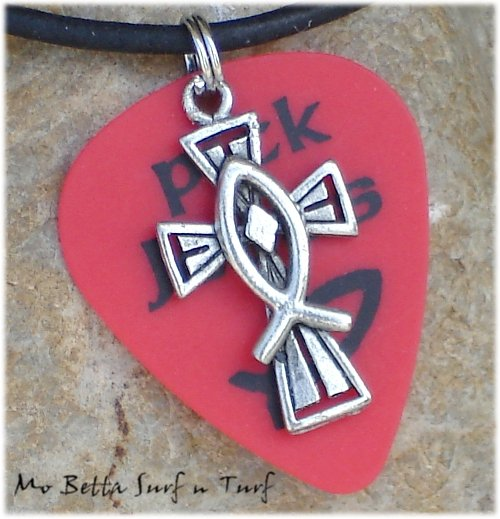 Red Pick Jesus Guitar Pick and Pewter Cross on Leather Surfer Necklace