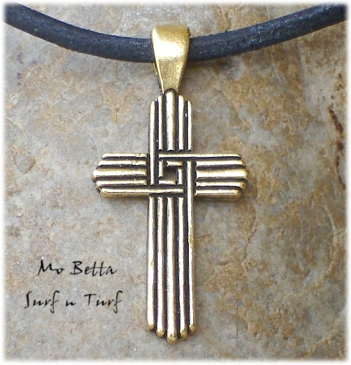 Pewter Gold Tone Cross Pendant on Adjustable Leather Choker Necklace