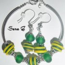 Green Spatial/Artisan Lampwork and Sterling Silver - Free Shipping