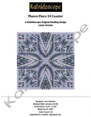 Mauve Flora 14 Coaster � A Kaleidoscope Original Beading Design Loom Version