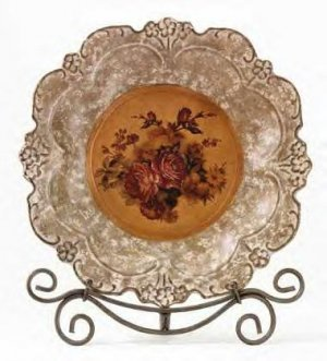 Antique Rose Plate With Stand