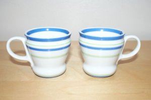 Starbucks Coffee Summer Stripes Demitasse Cup x2 Blue