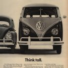 Vintage 1961 Think Tall Volkswagen Bus Car VW Ad