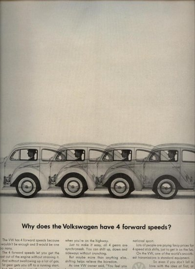 Vintage 1963 Volkswagen Y 4 forward speeds Doodle Bug VW Car AD