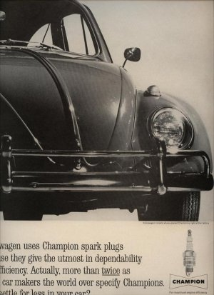 Vintage Advertising 1963 Volkswagen Champion Spark Plug factory VW AD
