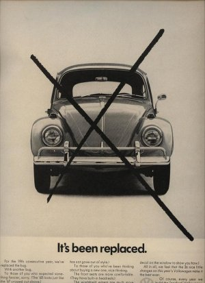 Vintage Beetle Bug 1967 It's Been Replaced Volkswagen VW Car AD