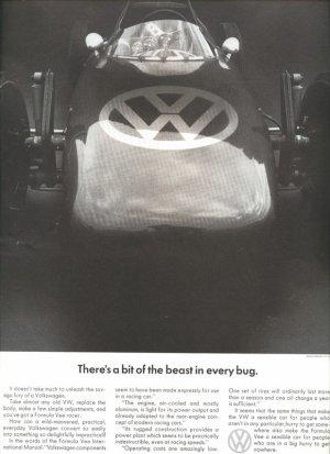 Vintage 1967 Volkswagen VW Beast in every bug Car AD