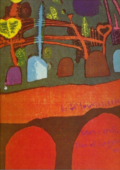 Vintage Sister Mary Corita Be of Love e.e. cummings 1968 Art Print