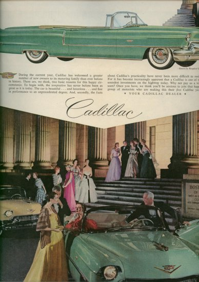 Vintage 1956 Green Cadillac Convertible Car AD