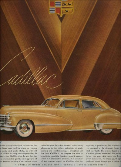 Vintage 1947 yellow Cadillac Car AD
