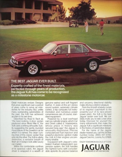 1985 Red or Maroon Jaguar XJ6 Motorcar Car AD