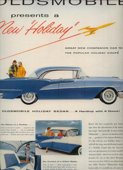Vintage 1955 Blue two tone Holiday Sedan Oldsmobile Car AD