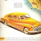 Vintage 1948 yellow Oldsmobile CAR Auto AD