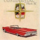 Vintage 1959 Lincoln Continental Mark IV Red Car AD