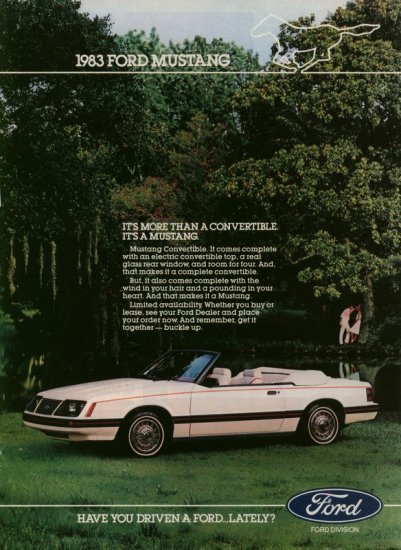 1983 Ford White Convertible Mustang Car AD