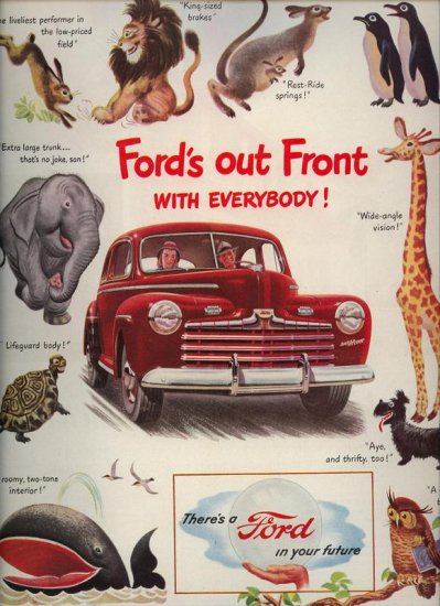 Vintage 1946 Ford's out front with Everybody Red Ford Car AD