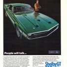 Vintage 1969 Green Ford Shelby GT 350 500 Road Car AD