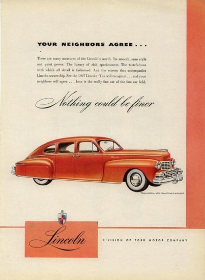 Vintage 1947 Orange Ford Lincoln Car Print AD
