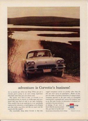 Vintage Advertising 1960 White Chevrolet Sports Car Corvette Print AD