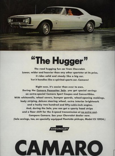 1967 Chevrolet White Chevy Camaro The Hugger AD