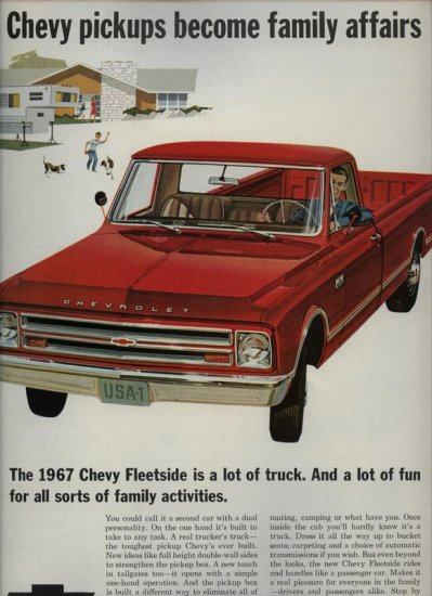 Vintage 1967 Chevy Chevrolet Red Fleetside Pickup Truck AD