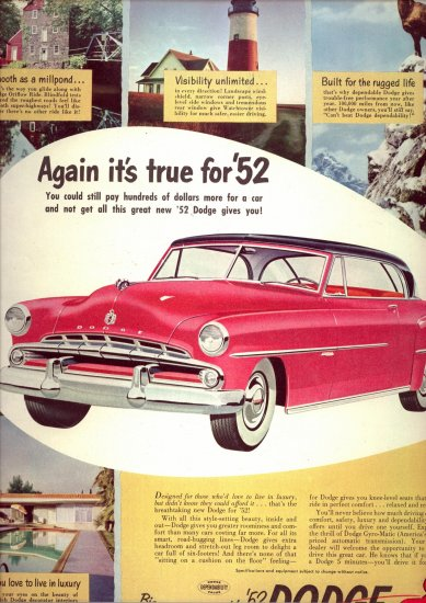 1952 Red Dodge Vintage Car AD