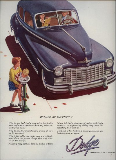 Vintage 1947 Blue Dodge Automobile Car AD