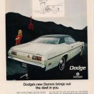 Vintage 1970 White Green Top Dodge Demon Car AD