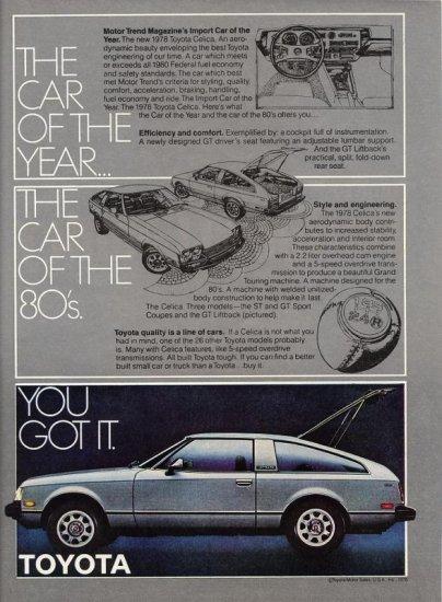 Vintage 1978 Toyota Celica Silver CAR AD