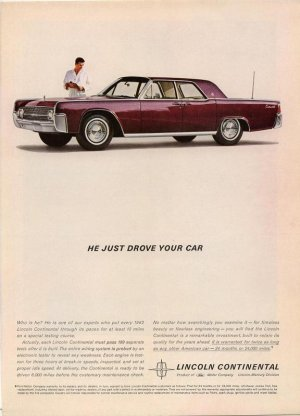 Vintage 1961 Maroon  Ford  Lincoln Continental AD