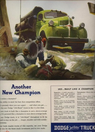 Vintage 1947 Green Dodge Work Truck Art by Fred Cole AD