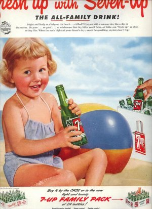 Vintage 1952 Fun in the Sun Little Girl 7UP Soda AD