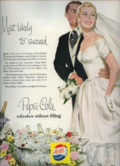 Vintage 1956 Bride & Groom Wedding Pepsi Cola AD