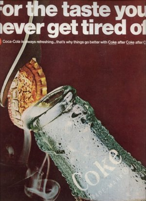 Vintage 1967 Coca Cola Bottle Print Coke AD