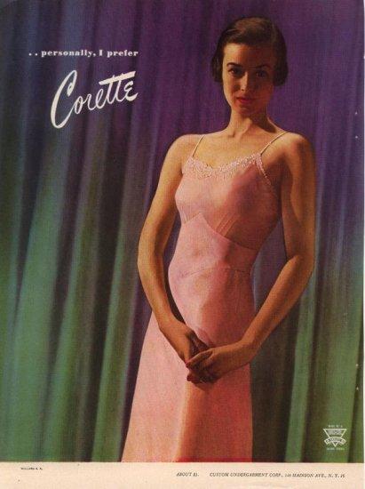 Vintage 1946 Pretty Girl Pink Corette Slip Lingerie AD