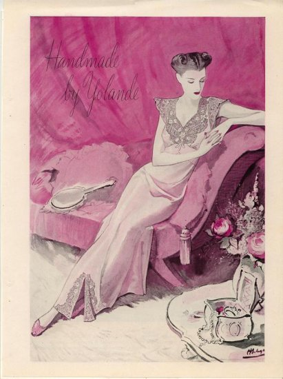 Vintage 1945 Handmade by Yolande Nightgown Bolegard Art AD